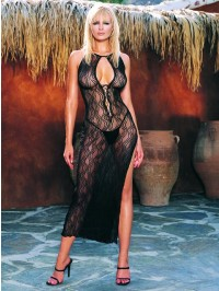  Swirl Lace Long Dress And G-String 