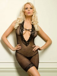 V Front Fishnet Dress
