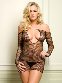 Fishnet Mini Dress With Sleeves