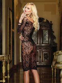 Fishnet Knee Length Gown Set