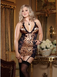 Leopard And Lace Garter Slip Set