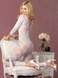 Bow Lace Footless Bodystocking