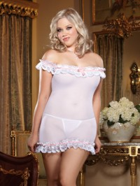 Ruffled  Off The Shoulder 2 PC Chemise