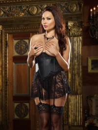 Open Cup Corset With Lace Skirt