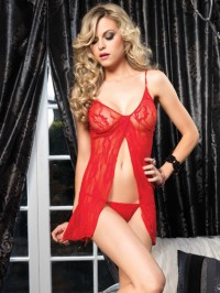 Lace Open Front Babydoll Set