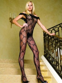 Bow Lace Open Crotch Bodystocking