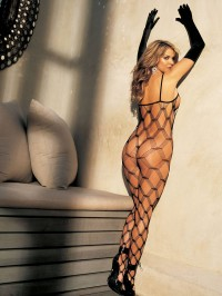 Diamond Patterned Fishnet Body Stocking