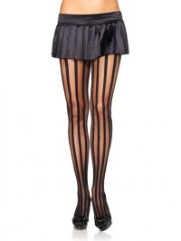 Sheer Pantyhose With Opaque Stripes