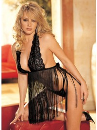 Revealing Fringe Babydoll  With G-string