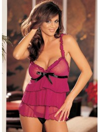 Swiss Dot Ruffle Babydoll 2 PC Set