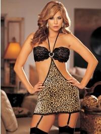 Sexy Leopard Chemise 3 PC Set