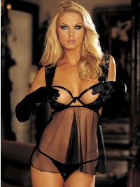 Open Cup Strappy Babydoll Set