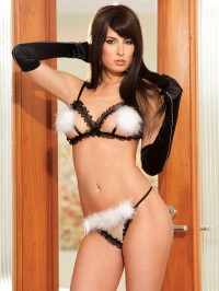 Ruffled Chiffon and Marabou 2 PC Set