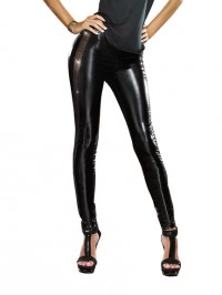 Sequin Side Stripe Faux Leather Leggings