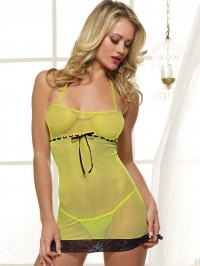 Fishnet And Lace Chemise Set
