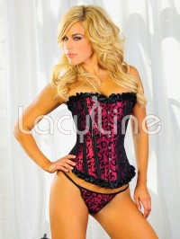 Brocade Print Ruffled Corset Set