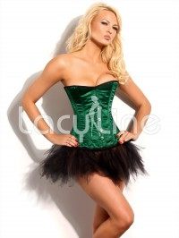 Steel Boned Corset In Jade Satin