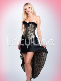 Leopard Print Corset And High Low Skirt