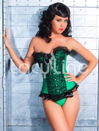 Emerald Orchid Burlesque Corset Set