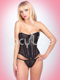 Mesh Corset Set With Strappy Bow Back