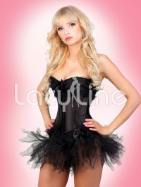 Burlesque Lace Trim Corset And Skirt 3 PC Set