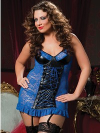 Liquid Lame And Lace Chemise Set