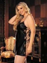 Plus Size Charmeuse And Lace Chemise