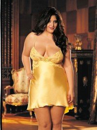 Plus Size Charmeuse Chemise With Low Back