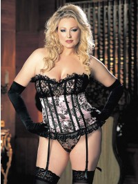 Velvet Flocked Satin And Eyelash Lace Strapless Corset- Plus size