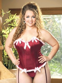 Ruffle Trim Satin Corset Set