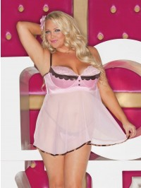 Frenchy Satin And Chiffon Babydoll Set