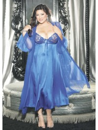 2 PC Long Gown Peignoir Set