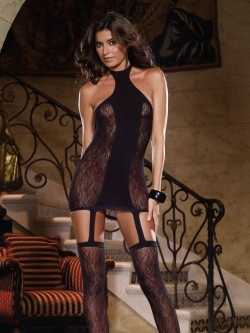 Opaque Contrast Dress With Attached Stockings