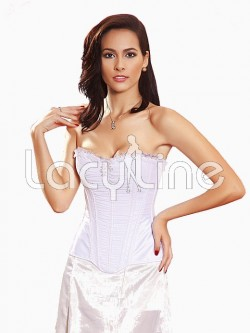 Ruched Overlay Satin Corset