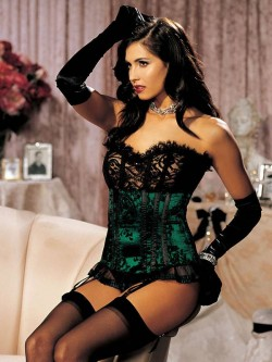 Velvet Flocked Satin And Eyelash Lace Strapless Corset