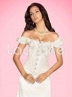 Steel Boned Brocade Corset With Ruffled Sleeves