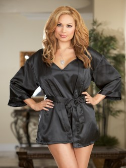 Plus Size Satin Robe 3PC Set
