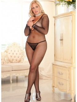 Plus Size Deep V Neck Bodystocking
