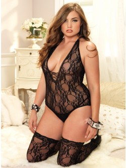 Plus Size Lace Teddy And Stockings Set