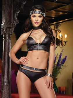 Ride 'Em Hard Sexy Biker Babe 4 PC Costume