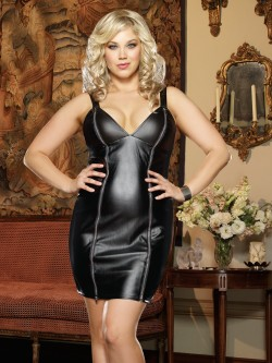 Plus Size Faux Leather Dress