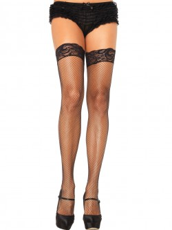 Plus Size Stay Up Fishnet Thigh Highs