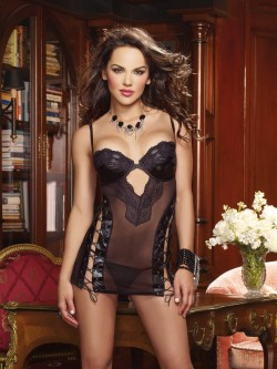 Lusty Lace-Up Chemise Set