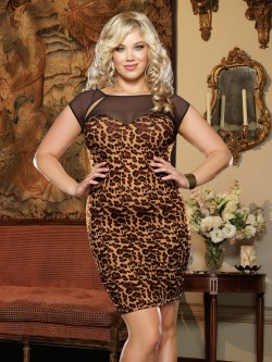 Plus Size Animal Illusion Club Dress