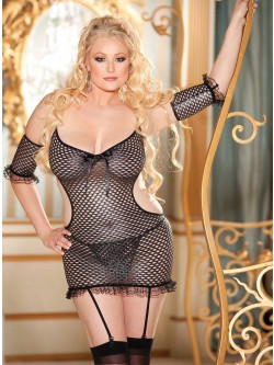 Metallic Fishnet 3 PC Set With Stockings
