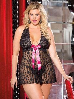 Plus Size Polka Dot Net Babydoll Set
