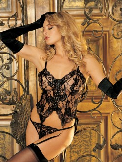 Lace Mesh 3 PC Bustier Set
