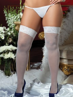 Plus Size Lace Top Thigh Highs