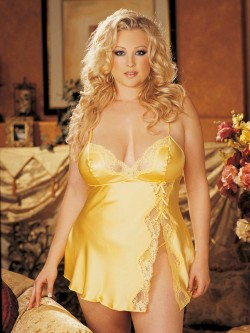 Plus Size Charmeuse And Lace Babydoll Set